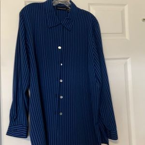 Royal blue & black stripe blouse.